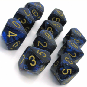 Blue & Gold Scarab D10 Ten Sided Dice Set